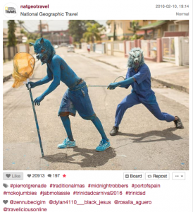 National Geographic Travel features T&T's Carnival on its Instagram feed.