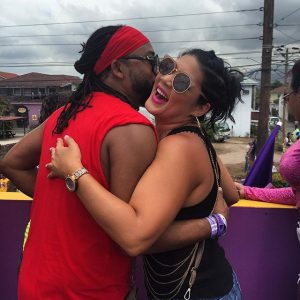 Machel and fellow endorsee, Tessanne Chin greet each other in Jamaica. PHOTO CREDIT: Machel Montano's IG.