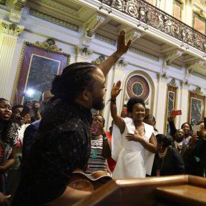 Machel Montano with former dancehall act, Jamaican gospel singer, Marion Hall.